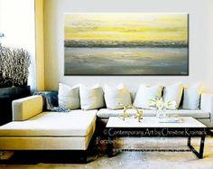 CUSTOM arte abstracto pintura moderna acrílico gris amarillo textura urbano horizonte horizonte blanco oro costera pared decoración seleccionar del tamaño - Christine