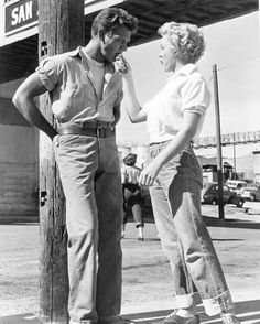 Keith Andes and Marilyn Monroe in a scene from Clash by Night, 1952.