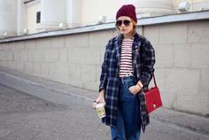 plaid coat, knit cap