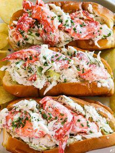Lobster Roll Recipes, Best Seafood Recipes, Crab Recipes, Dinner Recipes, Seafood Rolls Recipe, Best Lobster Roll, Seafood Dinner, Fish And Seafood, Seafood Meals