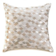 "Silver Gray Brown Checkered Decorative Throw Pillow Fifth Ave Pattern 18"" x 18"" #Unbranded"