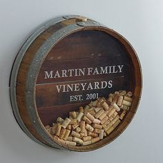 Personalized Reclaimed Wine Barrel Head Cork Collectors Display at Wine Enthusiast - $349.00