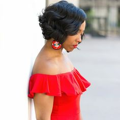 18 Vintage Flair with finger waves short hair Styles Curly Bob Hairstyles, Black Girls Hairstyles, Straight Hairstyles, Cool Hairstyles, Beautiful Hairstyles, Party Hairstyles, Short Haircuts, Medium Hair Styles, Natural Hair Styles