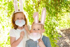 Bunny Photo Booth Props for Easter Party