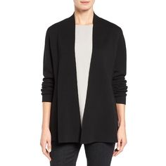 Women's Eileen Fisher Silk & Organic Cotton Cardigan (6,145 MXN) ❤ liked on Polyvore featuring tops, cardigans, black, organic cotton tops, cardigan top, cardigan kimono, silk cardigan and open cardigan