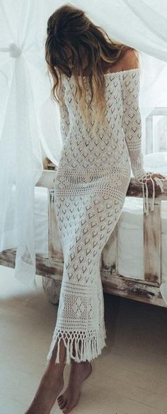 White Crochet off the Shoulder Maxi Dresss                                                                             Source