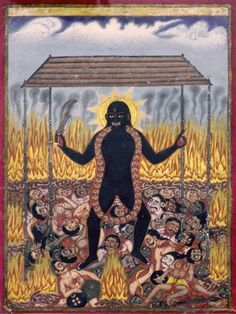 No outsider art this time – but an indian (Kaligat?) painting of the 19th century showing goddess Kali wearing a skull-neckless made of what looks like british heads – dancing in front of a fire on top of a crowd of people who's physiognomies look obviously very british – I guess the way this drawing was done was a subtle way to obstruct the unloved colonisators at that time...