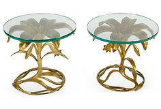 Vintage Gold Flower End Tables, Pair on OneKingsLane.com
