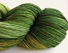 hand dyed yarn, hand painted yarn, handpainted yarn, superwash merino wool nylon blend yarn, sock yarn, kettle dyed yarn, fingering, green