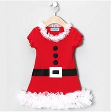 Baby Girls Christmas clothes Children New Year Party Girl Dresses Red Lace Dress With Belt Printing(China (Mainland))