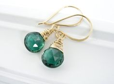 Emerald Green Earrings: Gold, Dangle, Wire Wrapped, Quartz, Handmade Jewelry, Simple, Gift Idea. $39.00, via Etsy.