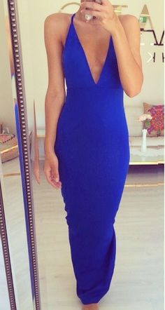 Electric blue deep v neck halter dress