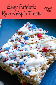 Celebrate the of July with these Patriotic Rice Krispie Treats! They are an easy no bake dessert perfect for summer and decorated with white chocolate and red white and blue sprinkles. Marshmallow Rice Krispies, Rice Krispie Treats, Easy No Bake Desserts, Dessert Recipes, Melting Chocolate, White Chocolate, Star Cookie Cutter, Still Tasty, Recipe Cover