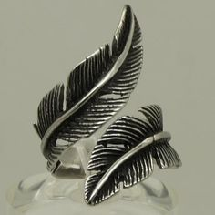 unique feather design stainless steel ring