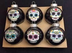 Sugar-Skulls-Decorated-Glass-Ball-Christmas-Ornaments-Set-of-6