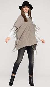 Poncho with fringes in light brown