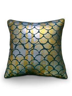This 'Mermaid' cushion cover is made from pure dark green Swedish linen, decorated with luxurious gold and silver foil scales.  Chiara Grifantini free-paints her signature mermaid motif on to each piece of fabric by hand.Dimensions: 60 cms x 60 cms.Bespoke sizes are available.  Please contact concierge@wrightandsmith.comChiara handpaints each cushion cover to order and each piece is therefore unique.  Your cushion cover will be very similar, but not identical, to the sample shown…