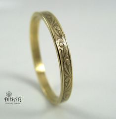 Vintage Very Thin Wedding Band in 14k Yellow Gold , Art Deco wedding band , men women gold ring ,delicate engravings,2.5 mm thin gold band on Etsy, $189.00