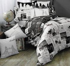 dress black white comforter newspaper bedding