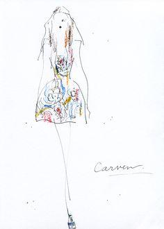 """""""Carven FALL 2012 READY-TO-WEAR"""" 今年1月に、伊勢丹に日本初となる「カルヴェン」コーナーがオープンしたことでも注目されているCarven。ランウェイのトップを飾ったのは、ノスタルジックなペイズリー柄のワンピースやツーピース。ゆるいウェーブのロングヘアーもいいですね。"""