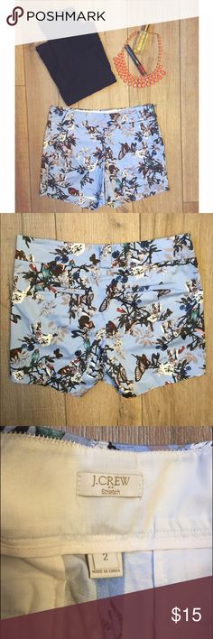 J . C r e w   S h o r t s J Crew Stretch Shorts. Size 2. NWOT. Has what I believe is a defect on the middle lower left side of short but is hardly noticeable. Side zipper to wear and remove shorts. 2 front pockets, 2 back pockets. 2 belt loops in front and 1 on back. 98% Cotton 2% Spandex. J. Crew Shorts