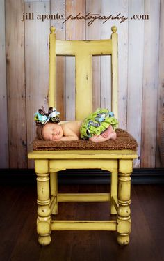 Newborn Photography posing on chair