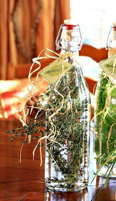 Herb Vinegar . Makes a great gift.