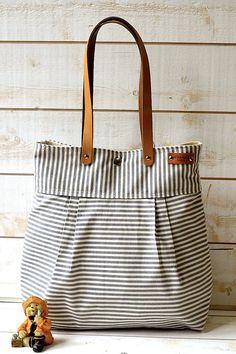 Messenger bag / Beach tote STOCKHOLM Gray and ecru nautical stripe - 6 Pockets. .00, via Etsy.