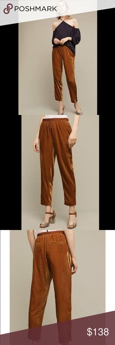 🦄$69 TODAY🦄Anthropologie velvet crop pants Viscose, nylon  Cropped, tapered leg  Side slant, back welt pockets  Drawstring waist 333136 Retail: $118 Size: small  ❤I have over 300 new with tag Free People & More items for sale! I love to offer bundle discounts!  ❤No trades. I no longer discuss pricing in comments. Please use offer button to submit offer! 😊 Anthropologie Pants Ankle & Cropped