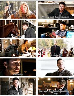 "[GIFSET]Season 8 Dean moments...that last one was so funny. ""Gah! Guy! Flirting! With me!!! RUN AWAY!!!!!"""