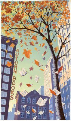 Caen hojas, caen libros en otoño (ilustración de Andrew Davidson)