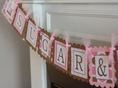 Pink and Brown Sugar & Spice  or Custom Name Baby Shower Banner - Ask About Party Pack Sale - Free Ship Over 60.00