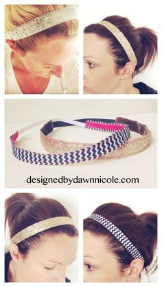 DIY Women's Non-Slip Headbands. Great for running and working out! Add a brooch for a little bling.