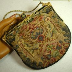 SALE, Antique Fine Petit Point Purse, Enamel and Marcasite Jeweled Frame, Redisch New York, Classical Scene. $145.00, via Etsy.