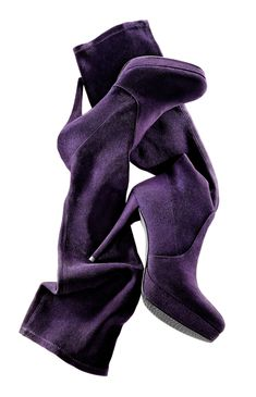 "STUART WEITZMAN  Concord grape stretch suede ""Giveitup"" platform boot"