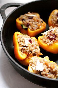 skilet of peppers