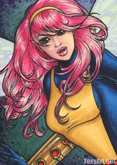 """Pixie sketchcard by Kristin Allen. Done with Copic pens, Prismacolor markers, gelly pen. Measures 2.5x3.5""""  For more of my work visit FoxyArt.net"""