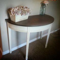 Refinished half moon table, dark gel stain, old white, dark wax.  Love! By #threeshabbybirds