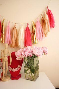 Pink and Gold Tassel Garland  Party Decor Birthday by BlushBazaar #peonies #pinkpeonies #tasselgarland