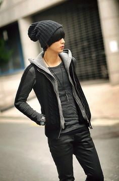 Street fashion -  men - beanie hat, jacket with hood.