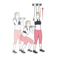 1: Dumbbell Squat to Overhead Press. 2: Dumbbell Chest Press on Stability Ball 3: Stability-Ball Jackknife 4: Dumbbell Lunge with Biceps Curl 5: Stability-Ball Hamstring Curl  Do 10 reps of each move, going from one exercise to the next with no rest; then take a one-minute break.
