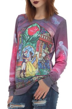 Hot Topic - Disney Beauty And The Beast Rose Girls Crew Pullover Disney Shirts, Disney Outfits, Cute Outfits, Disney Clothes, Disney Fashion, Visual Kei, Hot Topic Clothes, Cyberpunk, Grunge