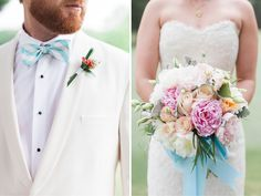 Mary Frances & David: Colorful Summer Wedding #bowtie #whitedinnerjacket #bouquet