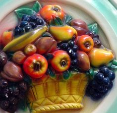 Chalkware Mixed Fruit Plaque Huge 1950s Kitchen Kitsch Mid Century Vintage Home Decor