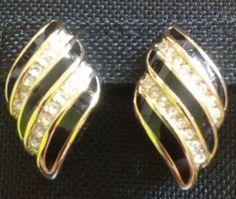 Vintage CHR.DIOR Germany CLASSIC CLIP-ON Earrings BLK Enamel + Rhinestone SIGNED #ChrDior #Clipon