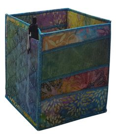 Table Top Organizer Pencil Box in Multicolored Batiks by Sieberdesigns on Etsy