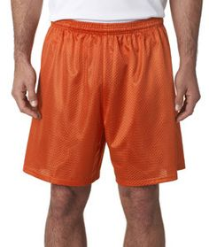 A4 Adult 7 Lined Tricot Mesh Shorts N5293 Athletic Orange