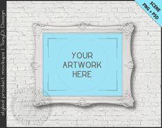 8x10 White & Black Ornate Frame on White Brick Wall | 4 PNG scene | Styled mockup W28 | Landscape Frame mockup | Framed Wall Art