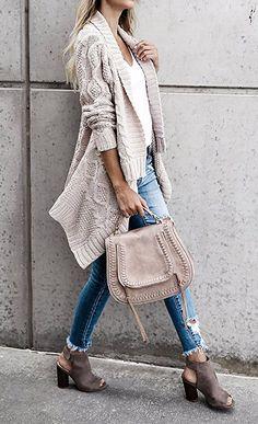 Women Fashion Weave Knit Long Sleeve Open Front Sweater Cardigan