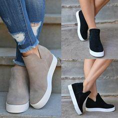 Womens Wedge Sneakers, Ankle Sneakers, Womens Shoes Wedges, Casual Sneakers, Sneakers Fashion, Fashion Shoes, Wedged Sneakers, Hidden Wedge Sneakers, Slip On Sneakers